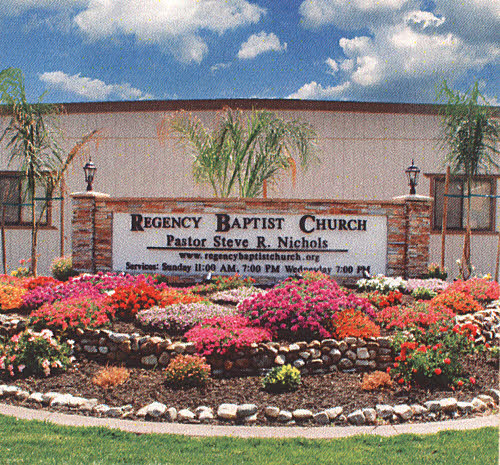 Picture to the front yard of Regency Baptist Church
