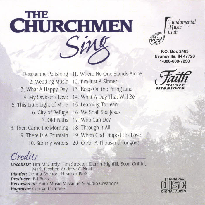 The Churchment Quartet -- The back cover of the Churchmen Sing CD